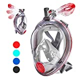 VELLAA Snorkel Mask Full Face for Kids Adults, 180 Panoramic Large View Free Breath Dry Top Set Double Anti-Fog Anti-Leak with Detachable Camera Mount, Adjustable Head Straps Foldable Snorkeling Mask