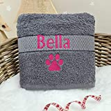 Crumbleberry Personalised Towel dog towel cat puppy kitten towel washable absorbent pet towel large towel small towel grey pet towel (Dark Grey)