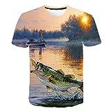 Unisex 3D Camiseta Divertidas Impresa Personalizada Verano Casual tee Shirts, Pesca en el Lago,XXXXL