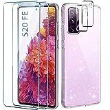 AROYI Handyhülle Kompatibel mit Samsung Galaxy S20 FE 5G Hülle mit 2 Stück Panzerglas Und 2 Stück Kamera Panzerglas Transparente Glitzer Silikon TPU Schutzhülle Kompatibel mit Galaxy S20 FE 5G