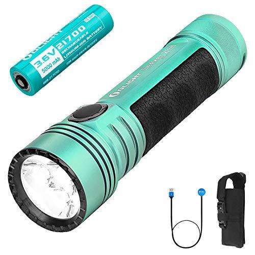 OLIGHT SEEKER 2 PRO Linterna LED Recargable Alta Potencia Luz Super Brillante 3200 lúmenes 3 LED, Linterna Impermeable IPX8 de 5 Modos, Batería 21700 y caja de batería Tidusky,Menta verde