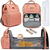 DEBUG Baby Diaper Bag Backpack with Changing Station Diaper Bags for Boys Girl, Baby Registry Search Shower Gifts for Girls New Mom Gifts for Women, Travel Waterproof Bookbag with Stroller Straps Pink