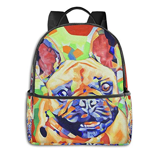 French Bulldog Cute Dog Funny Fawn Art Multi-Functional College Bags Students High School Girls Casual Daypack Kids Travel Backpack School Laptop Bookbags Teens Boy Outdoor Accessories