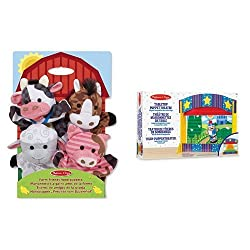 Four soft hand-puppets in a farm theme Velvet curtain rolls up and down