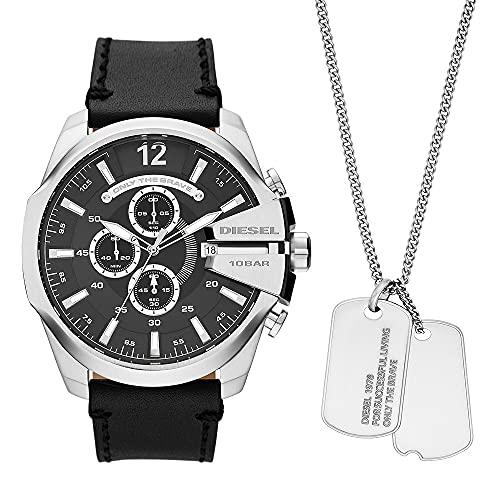Diesel Men's Analog Quartz Uhr mit Leather Armband DZ4559