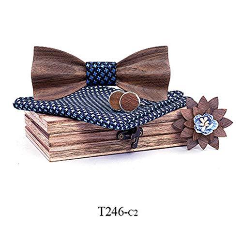 ZSRHH-Neckchiefs Halstücher Fliege 3D Holz Hochzeit Europa und Amerika Trend Krawatte Set Holz Fliege Massivholz Qualität (Farbe : 2, Größe : Free Size)
