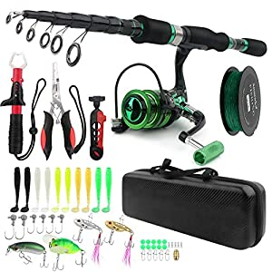 Fishing Rod and Reel Combos, Carbon Fiber Telescopic Fishing Pole Kit with Spinning Reel Fish Lip Gripper Pliers Line Lure Hook and Tackle Bag, Fishing Gear Set for Adults Youth Saltwater Freshwater