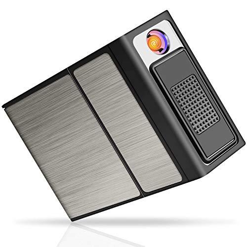 Pitillera de Aleación de Aluminio, Caja Cigarrillos con USB Encendedor Prueba de...