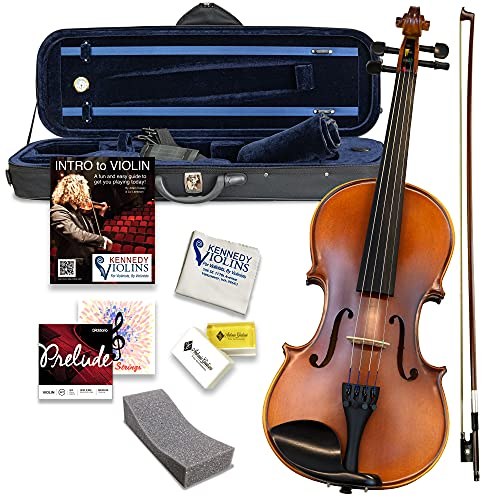 daddario violins Bunnel Premier Violin Outfit 1/8 Size - Carrying Case and Accessories Included - Highest Quality Solid Maple Wood and Ebony Fittings By Kennedy Violins