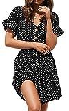 Spec4Y Damen Kleider V Ausschnitt Punkte Sommerkleid Rüschen Kurzarm Minikleid Strandkleid mit Gürtel 7461 Schwarz S