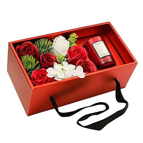 Kofferraum Caja de Regalo el Regalo Creativo al Día de la Madre Día romántica Vela perfumada Flor de jabón Caja de Regalo de San Valentín portátil,Red; Gold