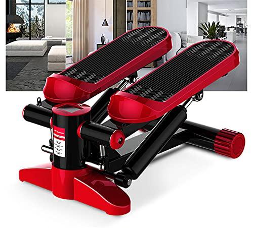 Máquina de ejercicios Step Swing Stepper, Fitness Hidráulico Stepper, Elíptica Smart APPAnd Máquinas de entrenamiento con cuerda de tracción Fitness Hydraulic Buffer In-Situ Pedal,Red-Standard Edition
