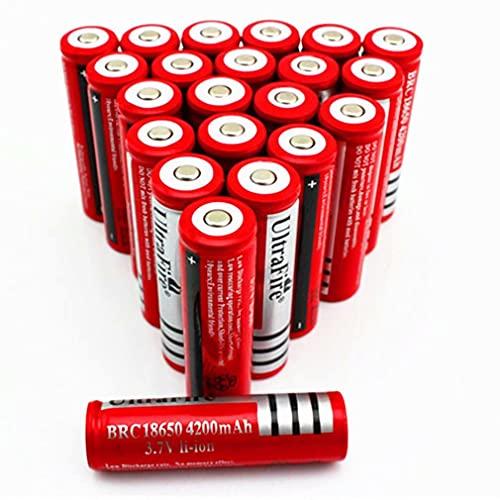 10 pcs 18650 Batería Recargable 3.7 4200 MAH Azul Litio BateríA Recargable De Iones De Litio 3.7v Pilas Recargables 18650 Alto Rendimiento BotóN De La BateríA Superior para Linterna 18650,18X65mm