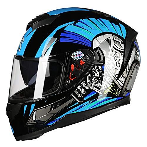 BUETR Casco motocicleta eléctrica personalidad casco completo cubierta del casco cuatro estaciones casco locomotora carreras batería casco-XL_sky azul