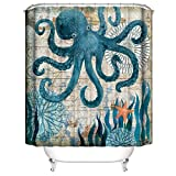 Muuyi Octopus Shower Curtain Kraken Shower Curtain - Funny Shower Curtains for Bathroom - Octopus with Ship Sail Old Boat in Ocean Waves, Cloth Fabric Bathroom Decor Set with Hooks, 72 x 72 Inches