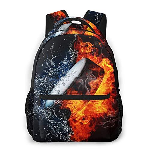 Laptop Rucksack Daypack Schulrucksack Backpack Eishockey Puck Feuerwasser, Business Taschen Freizeit Rucksack Arbeits Schultasche für Herren Männer Schüler Schule
