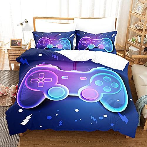 AZJMPKS Barn sängkläder set 3D gamepad gamer-sängkläder, tv-spel controller actionknappar, påslakan set örngott, sängkläder för pojkar och flickor (A20,200 x 200 cm 75 x 50 cm x 2)