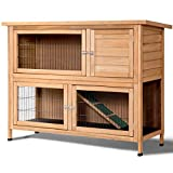 "Tangkula Rabbit Hutch Outdoor Garden Backyard Wood Hen House Wooden Chicken Coop Rabbit Hutch Poultry House Small Animal Cage (52"")"