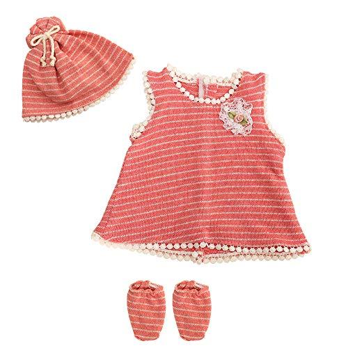 Miunana Kleidung Bekleidungsset Outfits für Baby Puppen, Puppenkleidung 35-40 cm, Kleid Hut Socke