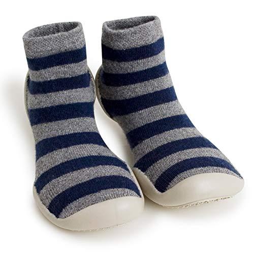 Collegien Mountain Stripes Hausschuhe Socken grau schwarz gestreift Gr. 34/35