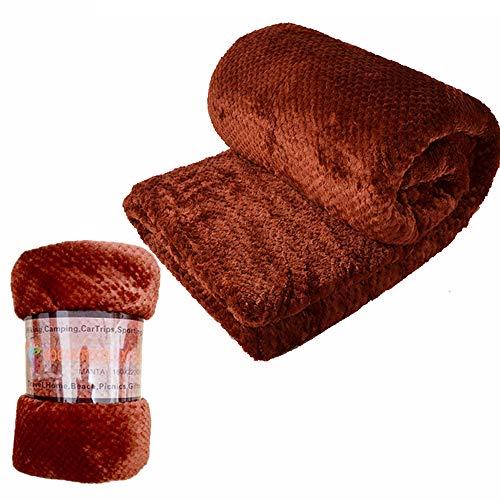 HTE Manta Suave de Microfibra 130 X 160 cm Individual para Sofá, Sillón,Cama, para Adultos y Niños (Marrón)