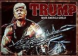 Metal Sign Donald Trump/Rambo Nip Make America Great Home Wall Bar Pub Decoration Man Cave 8X12 inch