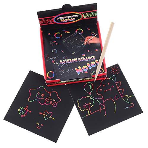 miuse 100 Sheets Pastel Papier Maak Regenboog Scratch Art Notes met 2 Houten Styluses, Kunsten & Ambachten Kits voor Kinderen, Regenboog Scratch-Off Papieren, Regenboog Mini Notes