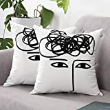 SUNBEAUTY Cotton Canvas Pillow Covers 18x18 Decorative Pillow Shams Square Cushion Cover Case Modern Pillowcase Sets 2pcs with Embroidery Face for Living Room Couch Sofa White Black