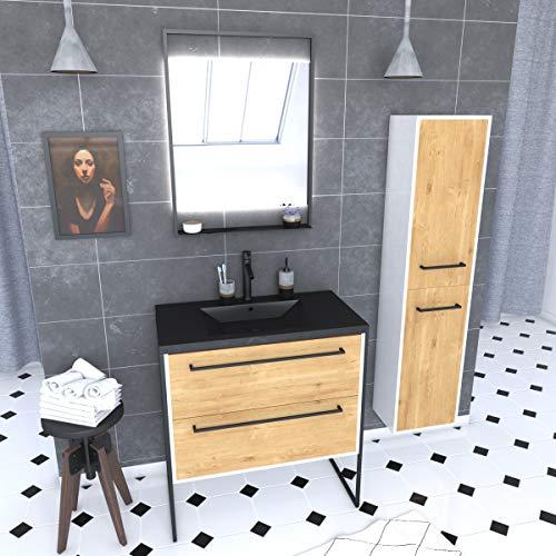 Aurlane - Mueble de baño de 80 x 50 cm, 2 cajones de roble natural, lavabo negro + espejo + columna