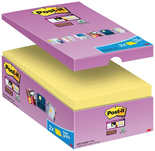 Post-it, Farbige Haftnotizen, 16er Vorteilspack Sticky Notes, Bunte Klebezettel und Haftnotizzettel, Selbstklebende Notizzettel für Büro und Studenten, 16 Blöcke à 90 Post-Its, 127 x 76 mm