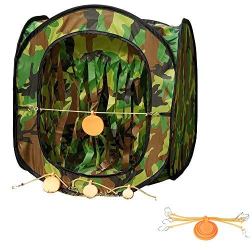 Portable BB Target Tent Trap Nylon Foldable Tent Trap with Silicone Orange Target Plates 4 Pcs Set Diameter 3cm, 4cm, 5cm, 6cm
