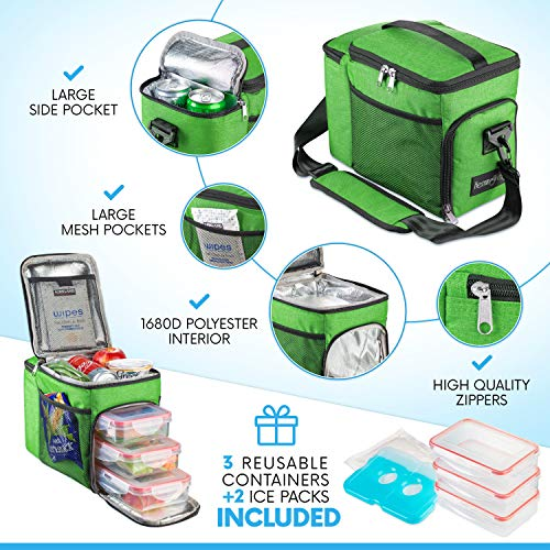 HemingWeigh Reusable Insulated Lunch Box - Durable Lunch Bag Cooler w/Spacious Storage...