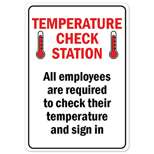 COVID-19 Notice Sign - Temperature Check Station | Vinyl Decal | Protect Your Business, Municipality, Home & Colleagues | Made in The USA
