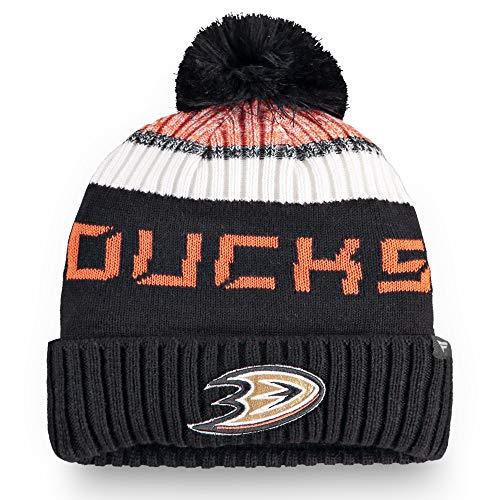 Fanatics NHL Anaheim Mighty Ducks Wollmütze Authentic Pro Rinkside Goalie Cuffed Knit Hat with Pom Mütze