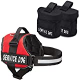 Service Dog Vest With Hook and Loop Straps and Detachable Backpacks - Harnesses In 7 Sizes From XXS to XXL - Service Dog Harness Features Reflective Patch and Comfortable Mesh Design (Red, Large)