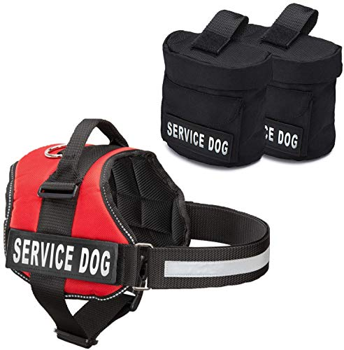 Service Dog Vest With Hook and Loop Straps and Detachable Backpacks - Harnesses In 7 Sizes From XXS to XXL - Service Dog Harness Features Reflective Patch and Comfortable Mesh Design (Red, Medium)