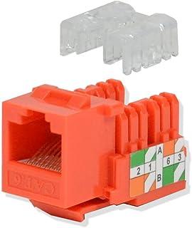 LOGICO 5 Pack lot Keystone Jack Cat6 Orange Network Ethernet 110 Punchdown 8P8C