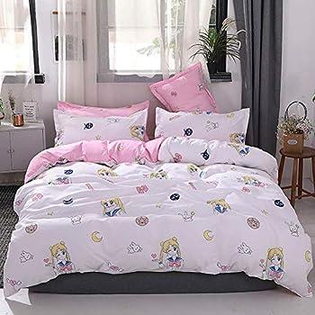 Papa&Mima INS Nordic Duvet Cover Set - Microfiber Polyester Cotton - 3 Pieces - Twin - 61 x80  155x205cm ,Pink Sailor Moon Rabbit Girl Anime Cartoon