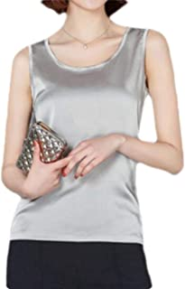 MK988 Women's Sleeveless Faux Silk Plus Size Loose Fit T-Shirt Blouse Tank Tops