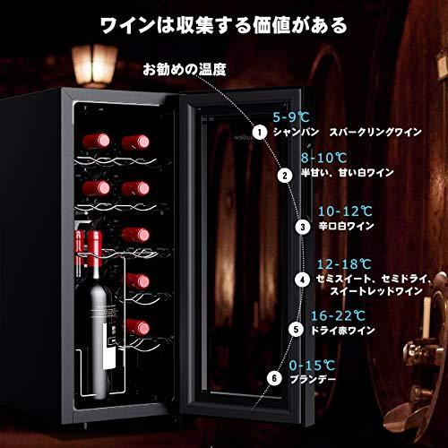 Audew最新ワインセラーワインクーラー12本収納縦置き・横置き両方に対応可能大容量ペルチェ静音式