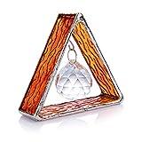 H&D HYALINE & DORA Handmade Glass Pyramid Ornament with Metal Trim, Crystal Suncatcher with Ball Prism, Orange Hanging Decoration