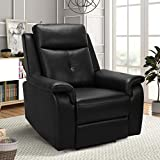 OBBOLLY Recliner Chair for Living Room - Manual Recliner Chair with Wide Armrest, Ergonomic Design Contemporary Home Theater Seating Single Sofa Chair, Faux Leather (Black)