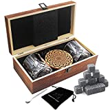 Whiskey Stones Gift Set,16 Granite Reusable Whiskey Rocks Chilling Ice Cubes,2 Crystal Whiskey