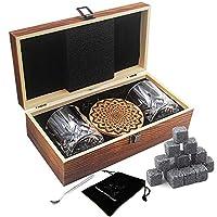 ayaoqiang whisky stones set di regalo di 2 bicchieri da whiskey - set di 16 granito cubetti di ghiaccio riutilizzabili - whisky pietre set con sottobicchieri