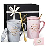Housewarming Gifts New Home New Adventure New Memories Coffee Mug Couples Gifts, New Home Gifts for Home House Warming Presents Family Gifts - Marble Ceramic Coffee Cup Pink Grey - 14 oz