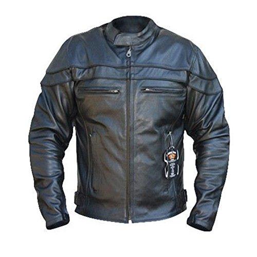 Australian Bikers Gear - Herren Lederjacke - bekümmert Sturgis Sports Antikleder - CE-Protektoren - 4XL