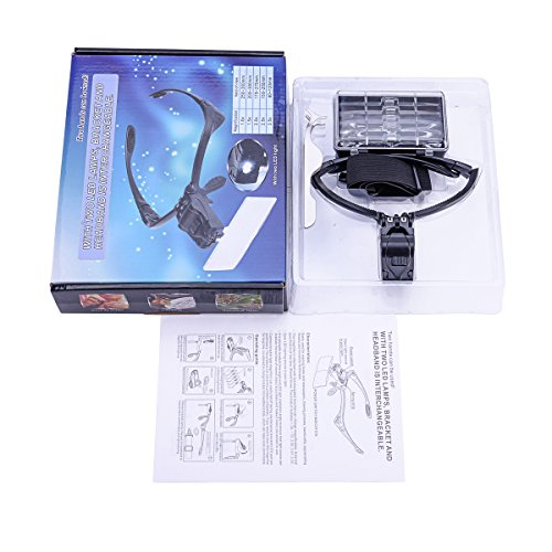 LED Light Weight Magnifier with 5 Lenses 1x, 1.5x, 2x, 2.5x,...