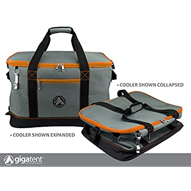 GigaTent Orange Insulated Collapsible Cooler - Soft Lunch Box with Bottle Opener For Camping, Beach and Travel - Lightweight and Tear Resistant Fabric - Holds 48 Cans or 30 Bottles