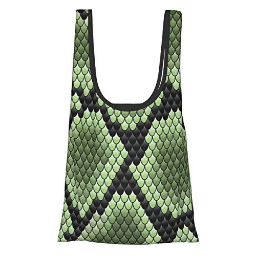 Faltbare wiederverwendbare Einkaufstasche, Einkaufstasche, umweltfreundlich, wasserabweisend, leicht, stark schlange, grün auf schwarz