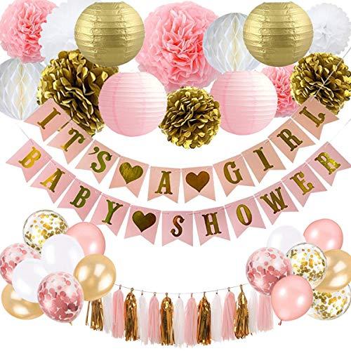 BUYGOO Baby Shower Dekoration für Mädchen (Rosa Gold Weiss) - Mädchen Baby Shower Banner mit Papierlaterne Blumen Seidenpapier Pompoms Honeycomb Ballons Quaste für Baby Dusche Dekoration Kit